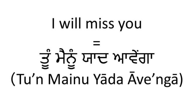 I will miss you in Punjabi (male informal)