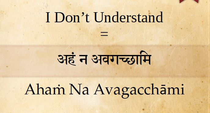 How to say I don't understand in Sanskrit