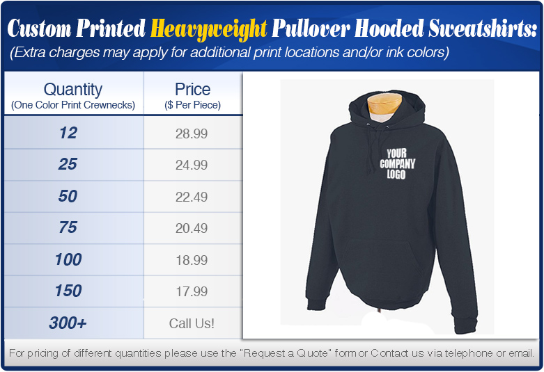 Custom Pullover Heavyweight Hooded Sweatshirts Specials