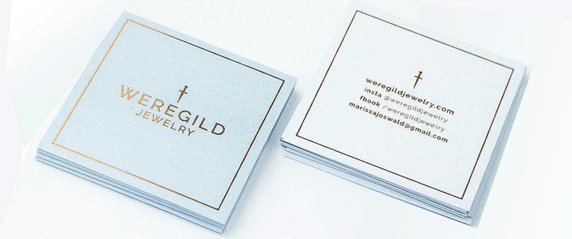 Square Business Cards With Akuafoil & Spot UV For Weregild Jewelry