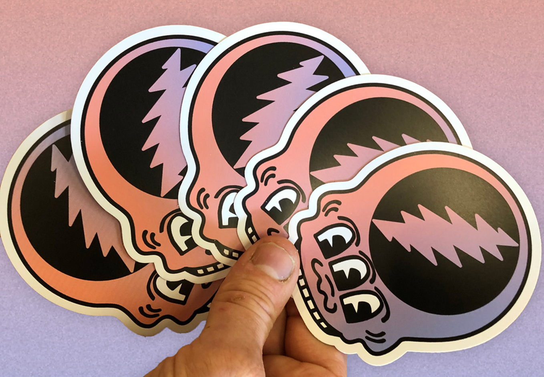 White vinyl weatherproof die cut matte finish stickers for aarons picks