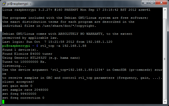 Example of command line output seen from RTL_TCP