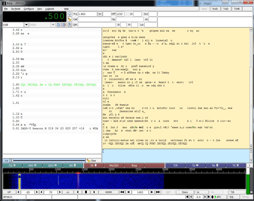 Screenshot of FL-Digi showing Multidecoder