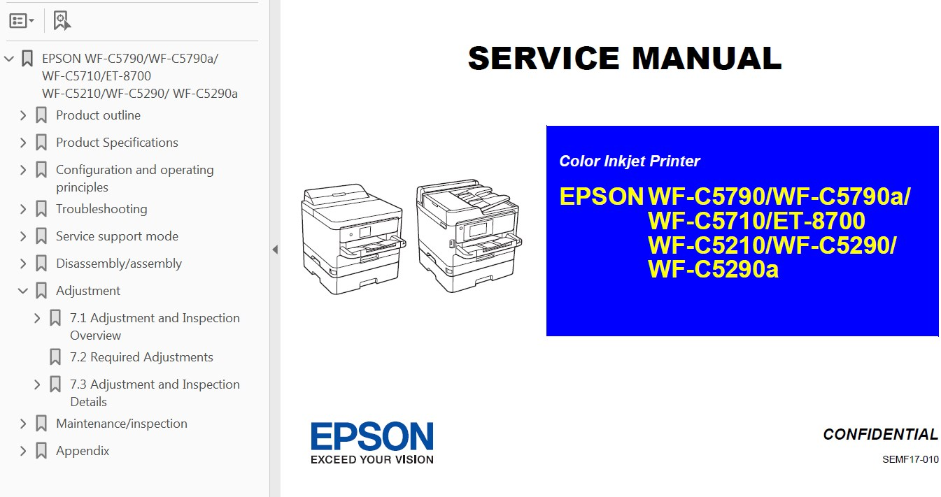 hight resolution of  printers service manual new 29 99 epson b wf c5210 wf c5290 wf c5710