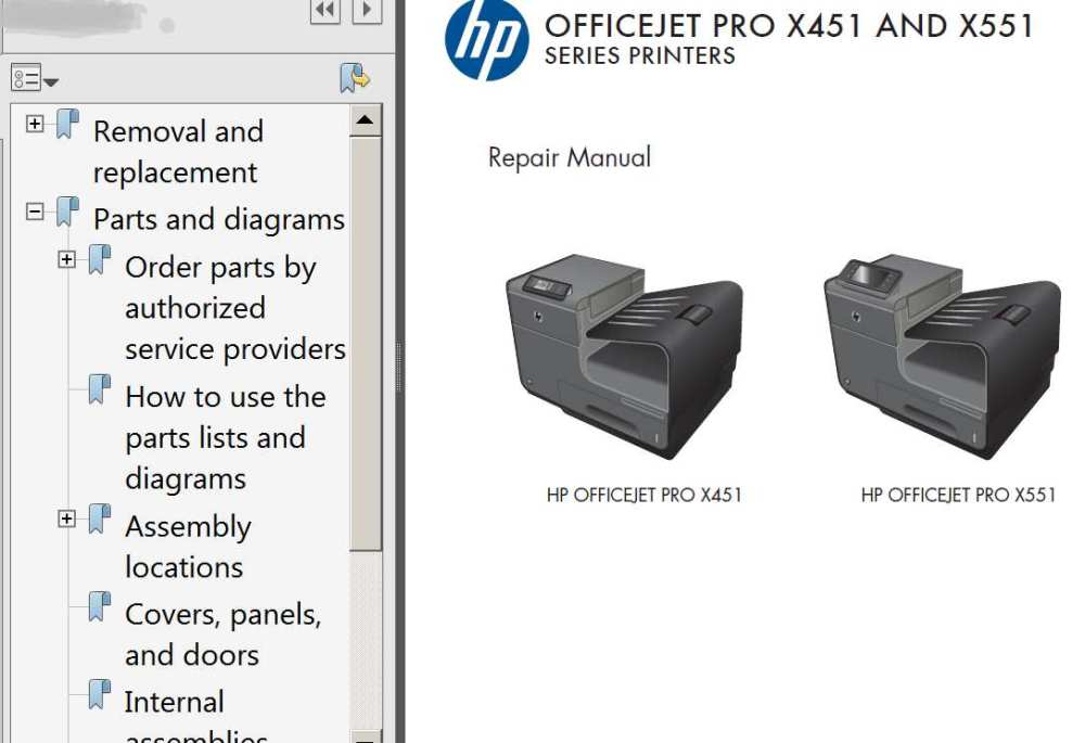 medium resolution of hp officejet pro x451 officejet pro x551 repair manual parts list and diagrams