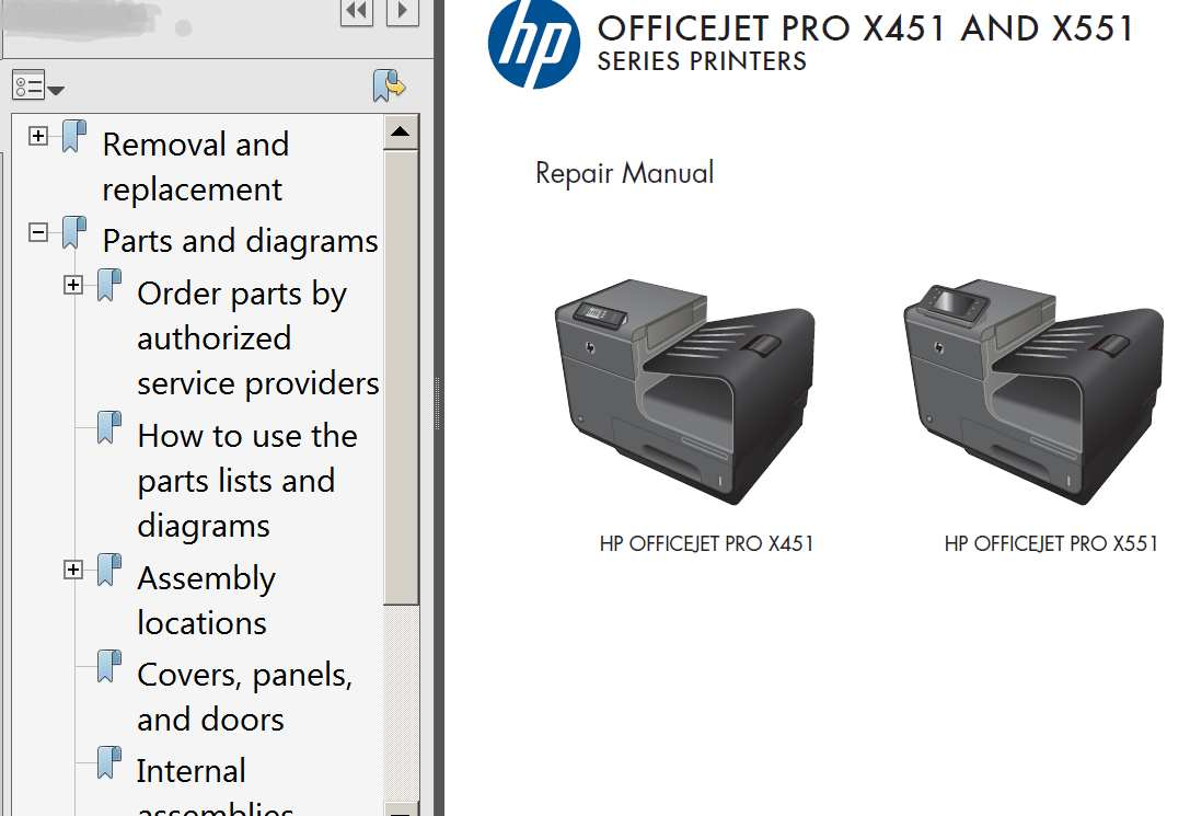hight resolution of hp officejet pro x451 officejet pro x551 repair manual parts list and diagrams