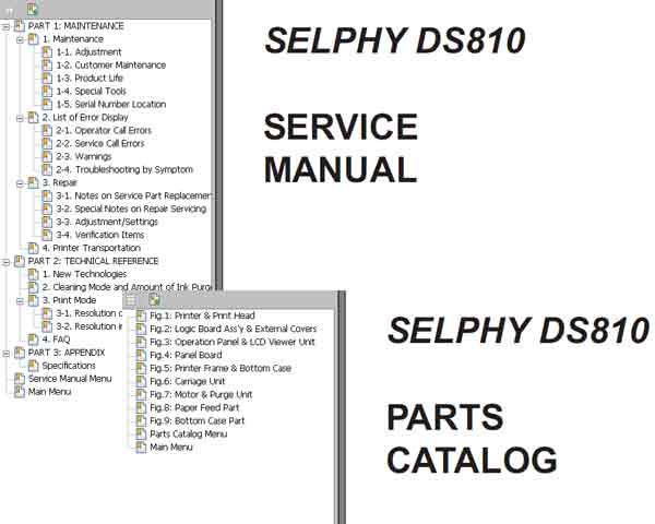Canon Selphy DS810 DS 810 Service Manual + Parts Catalog