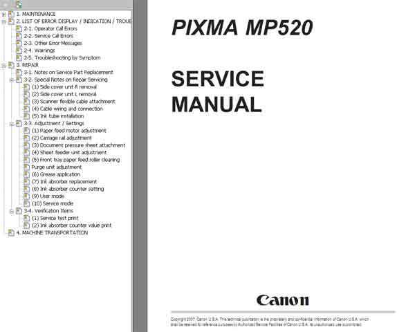 CANON MP520 SERVICE MANUAL PDF