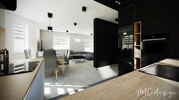 Otwarta czarna kuchnia