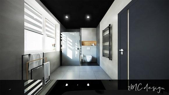 Łazienka z ciemnym sufitem