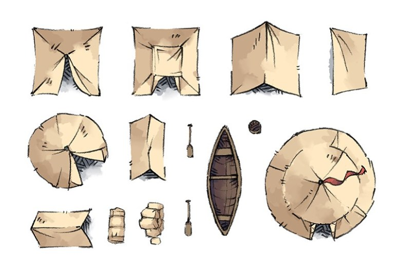 Camp Tokens (tents, canoe)