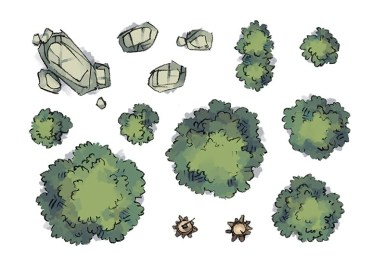 Camp Tokens (trees, rocks, forest)