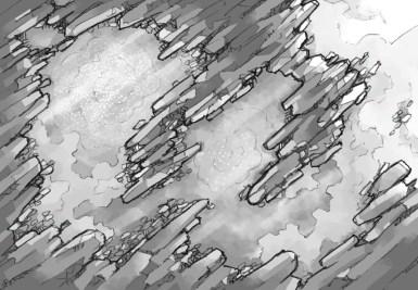 Crystal Cave battle map, black & white