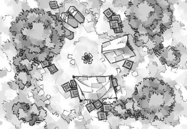 Roadside Camp battle map, black & white