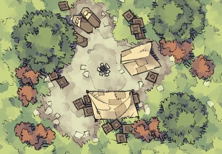 Roadside Camp battle map, color