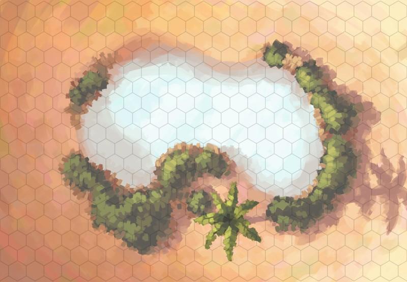Desert Oasis Battle Map, Hex Grid