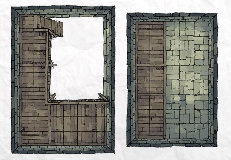 Dungeon Vault Battle Map Tile, color