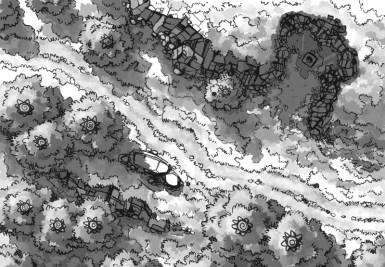 Hillside Altar battle map, black and white
