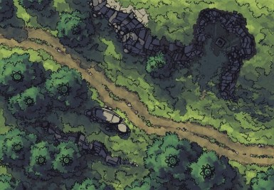 Hillside Altar battle map, hex grid