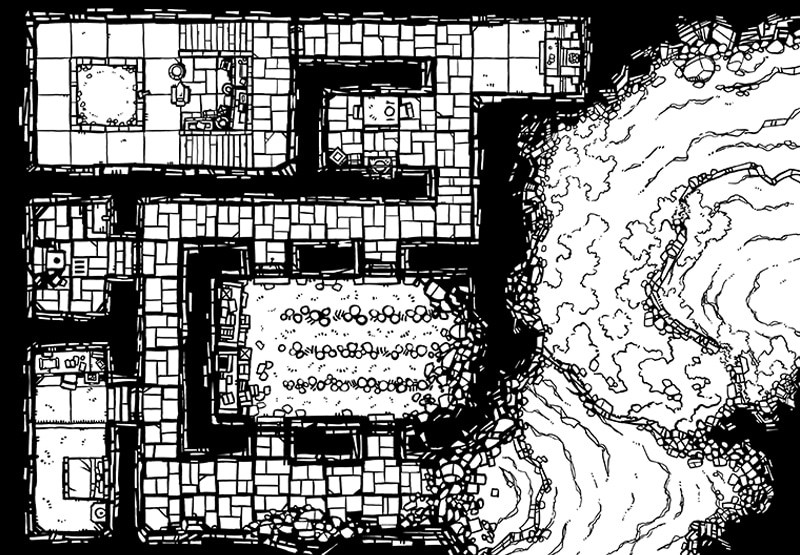 Dwarven Hermitage Dungeon Map, Lines