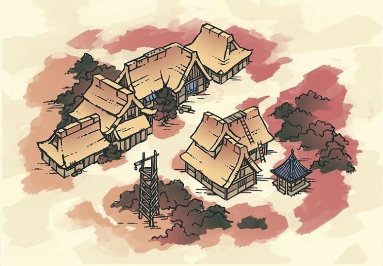 Japanese Village RPG Map, Color
