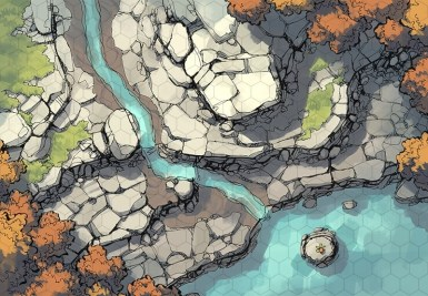 Rocky Descent battle map, hex grid