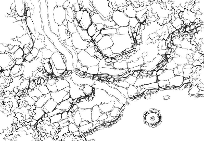 Rocky Descent battle map, line art