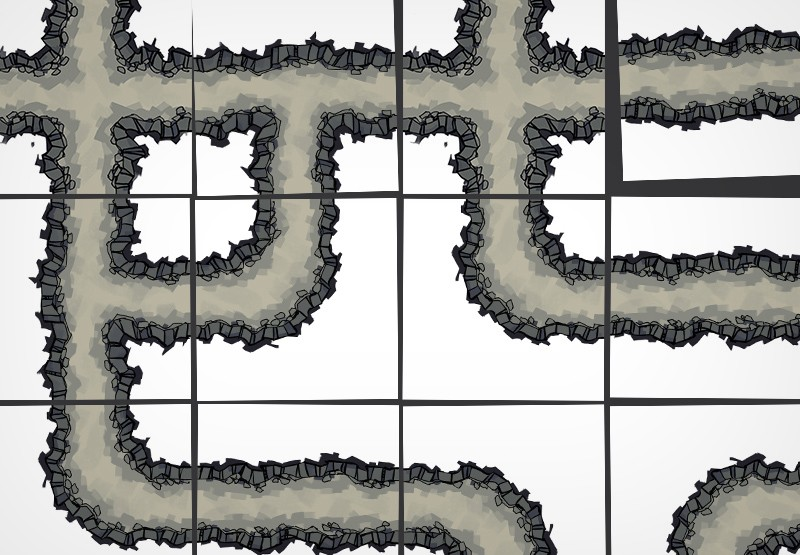 Cave Tunnels battle map tiles, demonstration