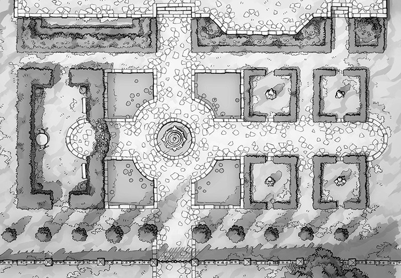 Haunted Garden RPG battle map, black and white greyscale