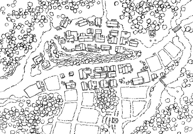 Poacher's Crest RPG Town Map, line art