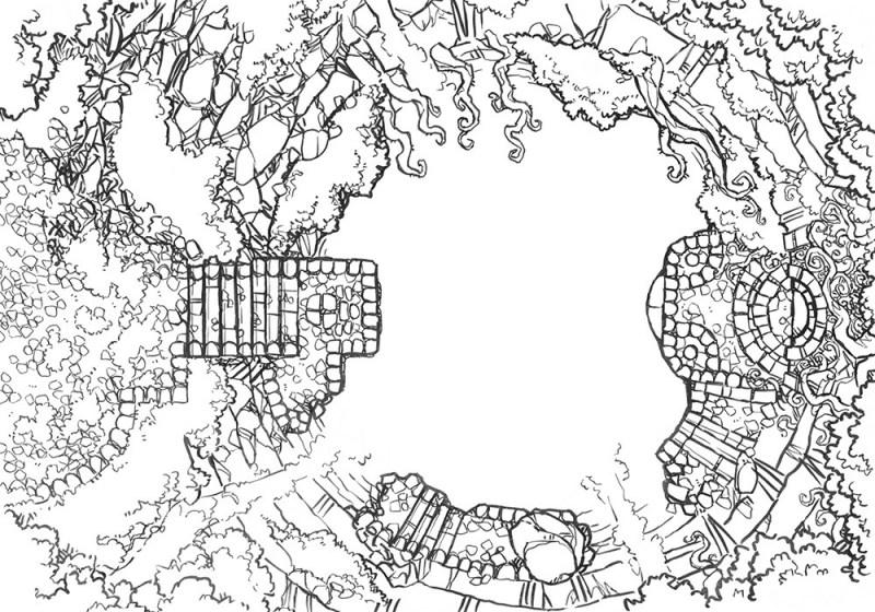 Jungle Temple RPG battle map, lines
