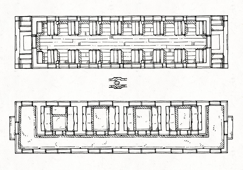 Steam Train Passenger Cars, Lineart