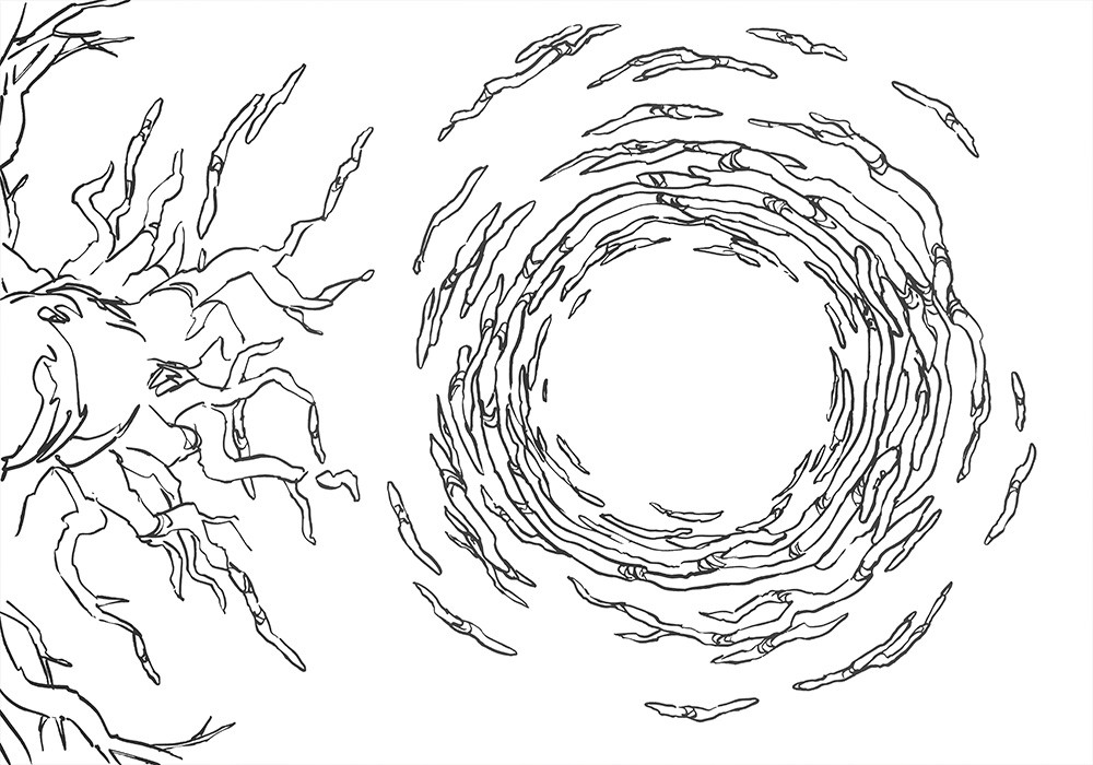Mysterious Mangrove Portal Battle Map – Line Art Preview