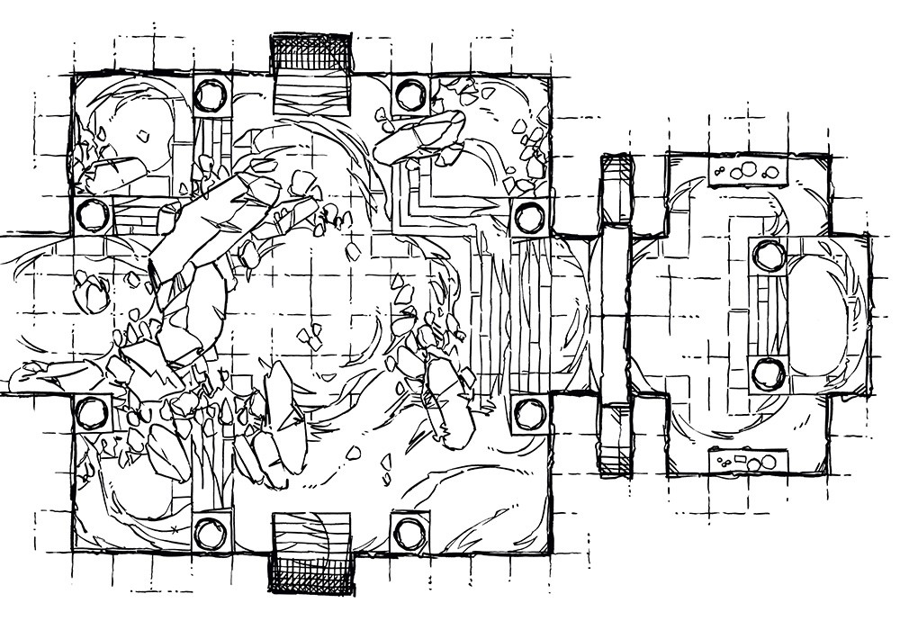 Crumbling Desert Tomb Battle Map – Lineart