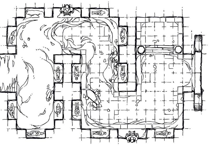Winding Desert Catacomb Egyptian Battle Map, Lineart Preview