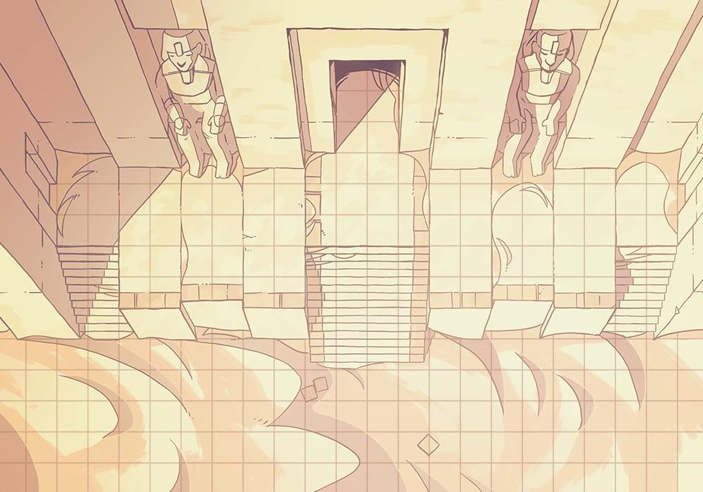 Desert Temple Battle Map, grid