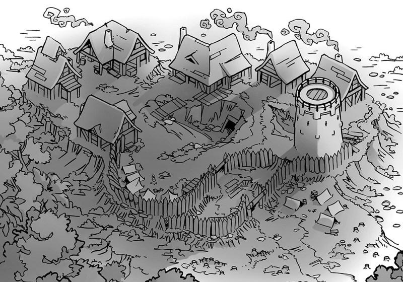 Fog's Edge Outpost Jungle Town Map, B&W