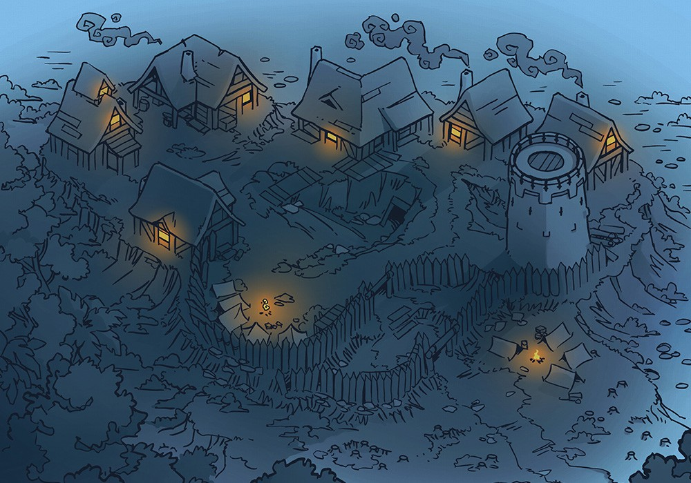 Fog's Edge Outpost Jungle Town Map, FogsEdgeOutpost-Night
