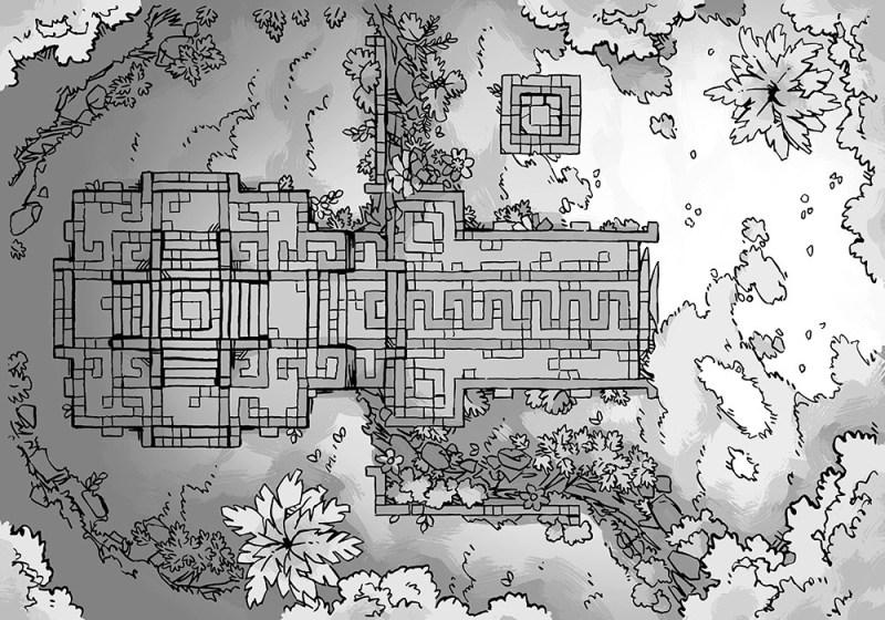 Jungle Podium battle map, b&w