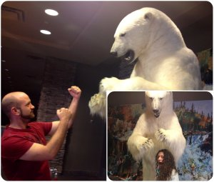 Posing with the polar bear in the hotel lobby before dinner