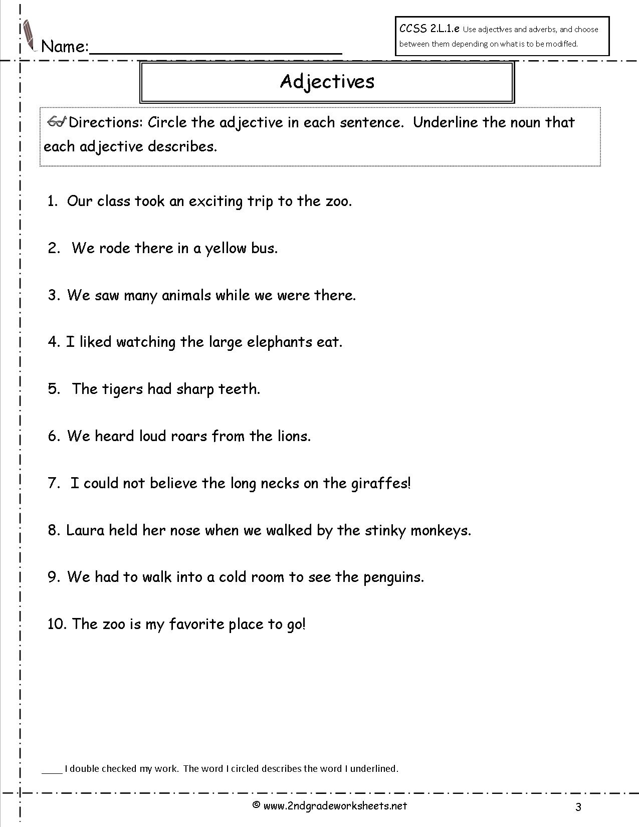 Free Using Adjectives Worksheets