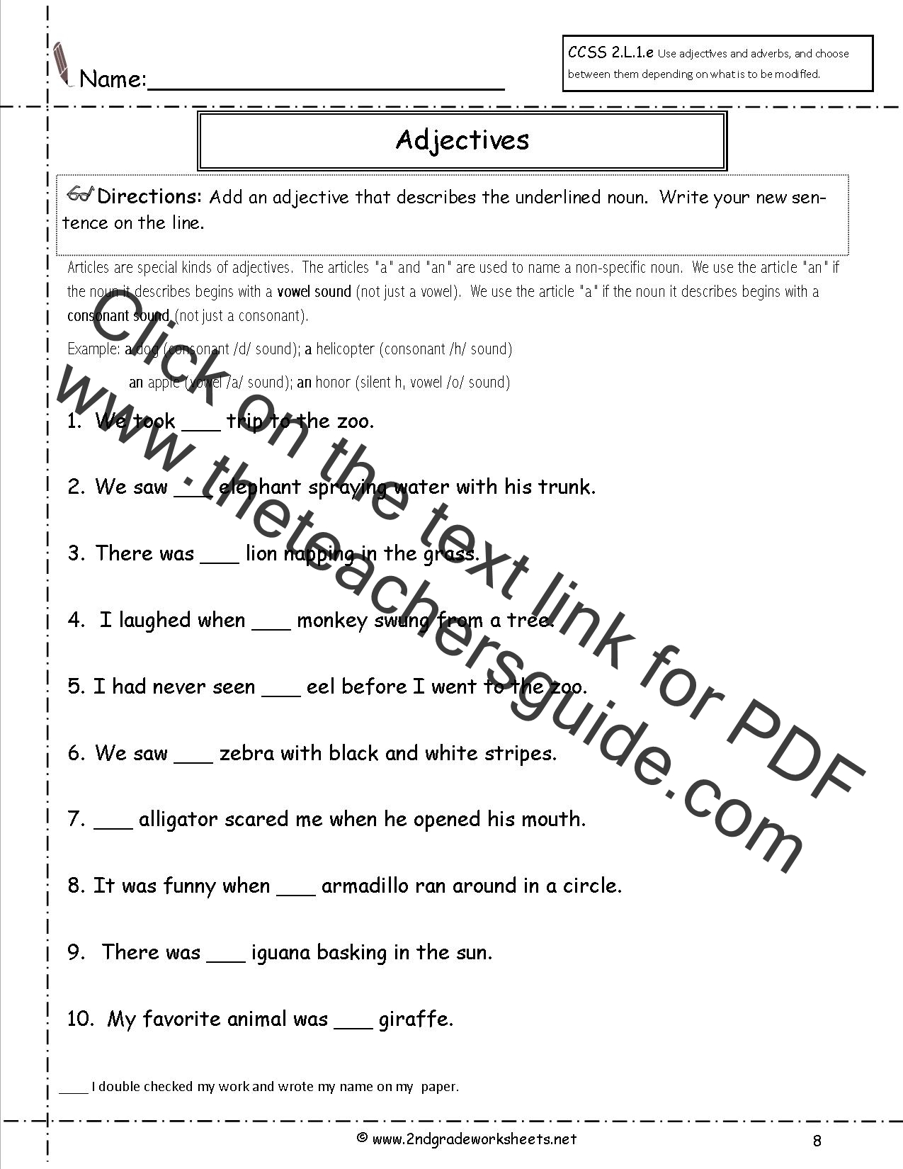 5 Grade English Worksheets