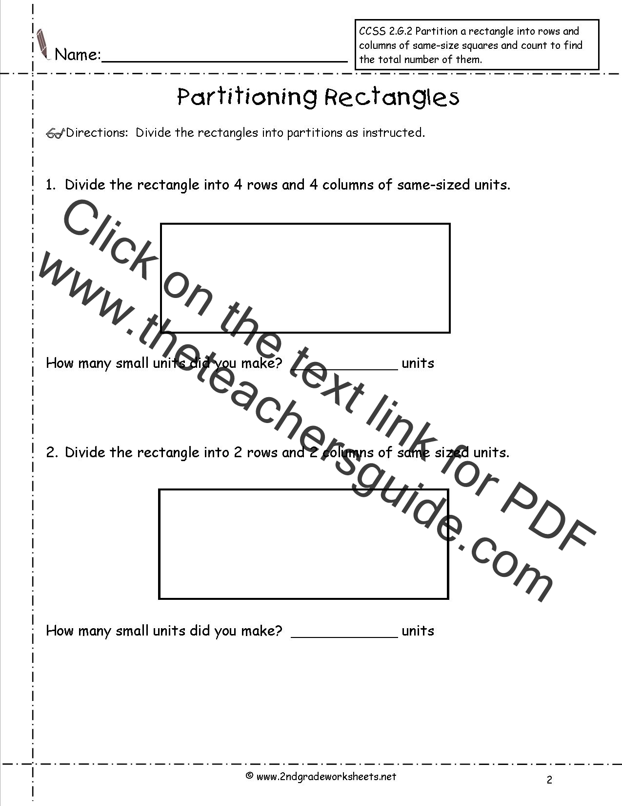 Partition Rectangles Worksheets Ccss 2 G 2