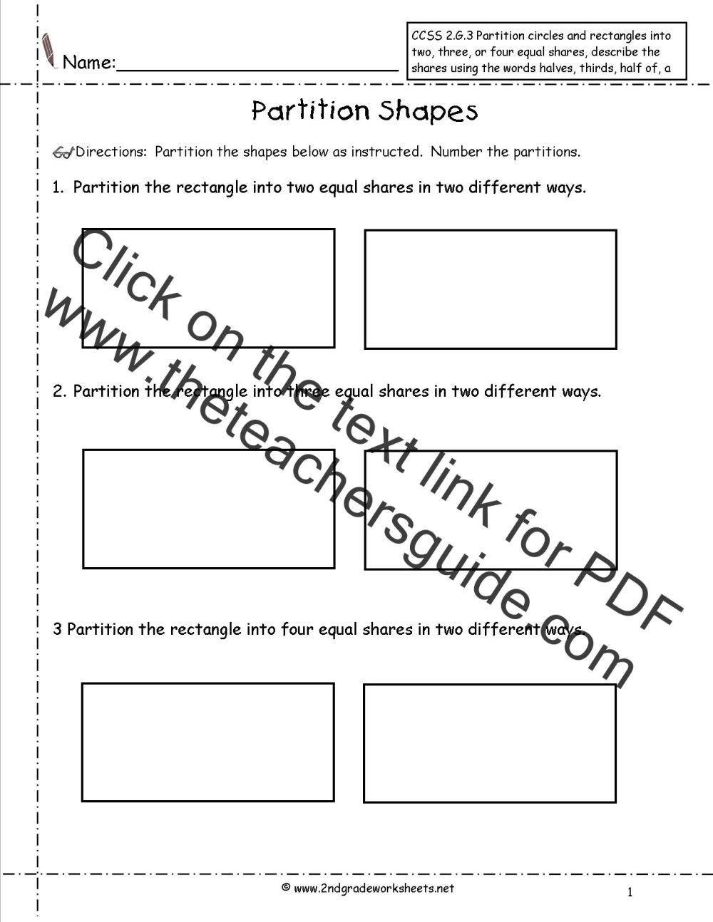medium resolution of CCSS 2.G.3 Worksheets
