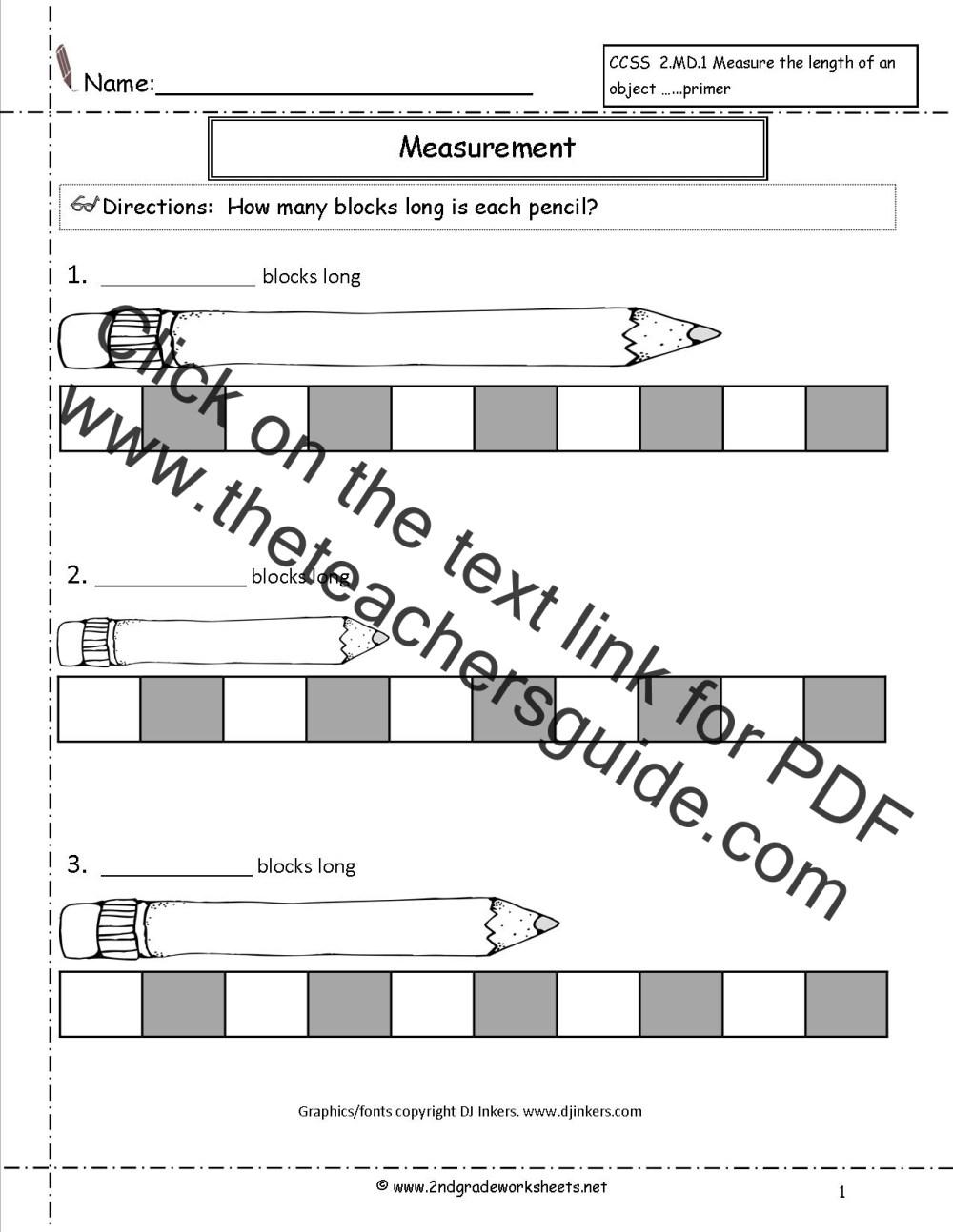 medium resolution of CCSS 2.MD.1 Worksheets