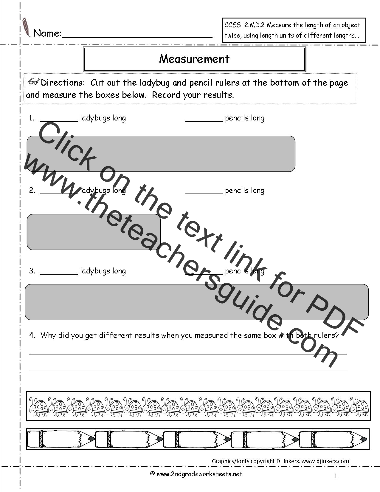Ccss 2 2 Worksheets Measuring And Estimating Lengths