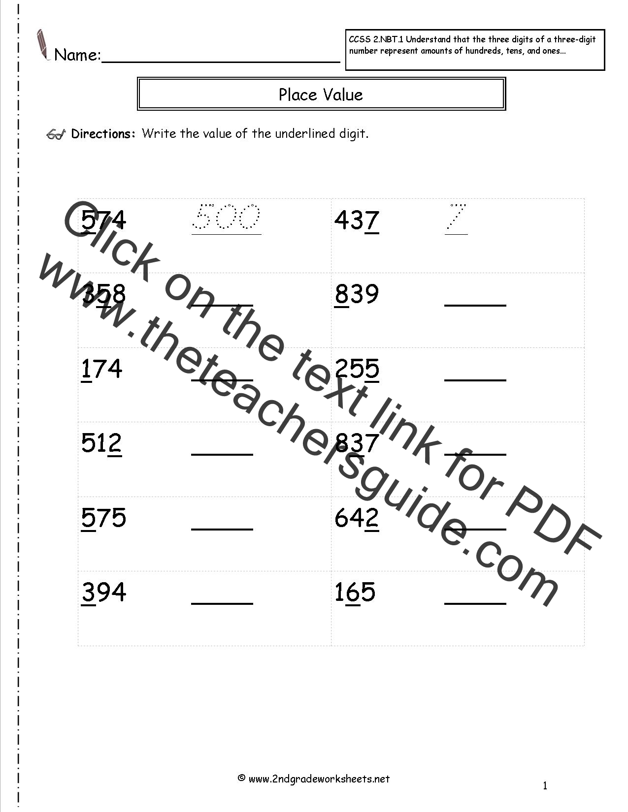 2nd Grade Common Core Math Place Value Worksheets