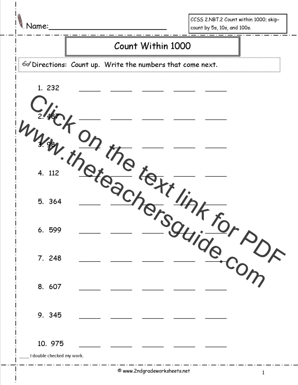medium resolution of 2nd Grade Math Common Core State Standards Worksheets