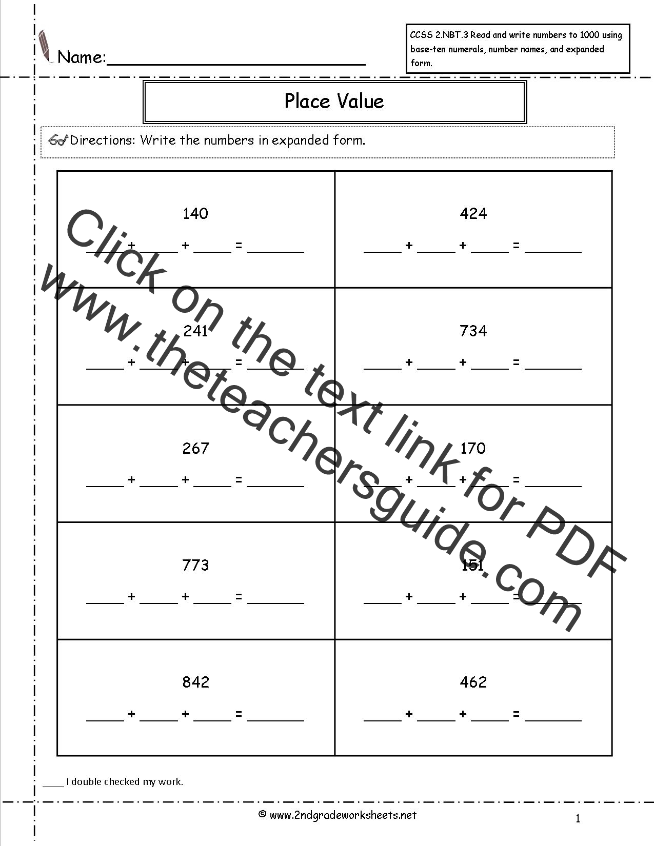 Ccss 2 Nbt 3 Worksheets Place Value Worksheets Read And Write Numbers