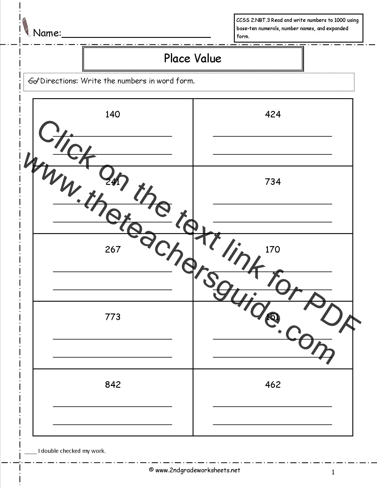 Ccss 2 Nbt 3 Worksheets Place Value Worksheets Read And